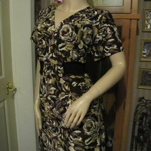 Perseption Women Brown Floral Dress size 1X